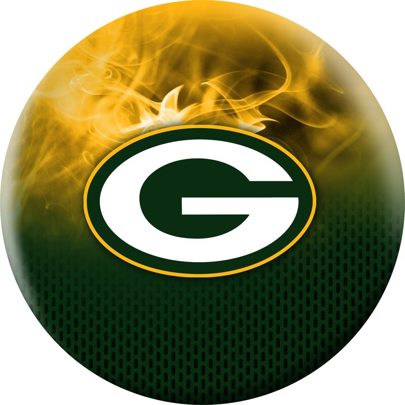 Green Bay Packers NFL On Fire Undrilled Bowling Ball