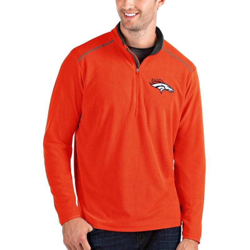 Denver Broncos Antigua Glacier Quarter-Zip Pullover Jacket - Orange/Gray