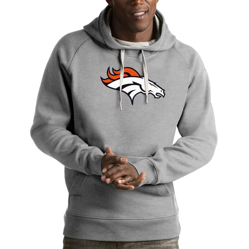 Denver Broncos Antigua Victory Pullover Hoodie - Heather Gray