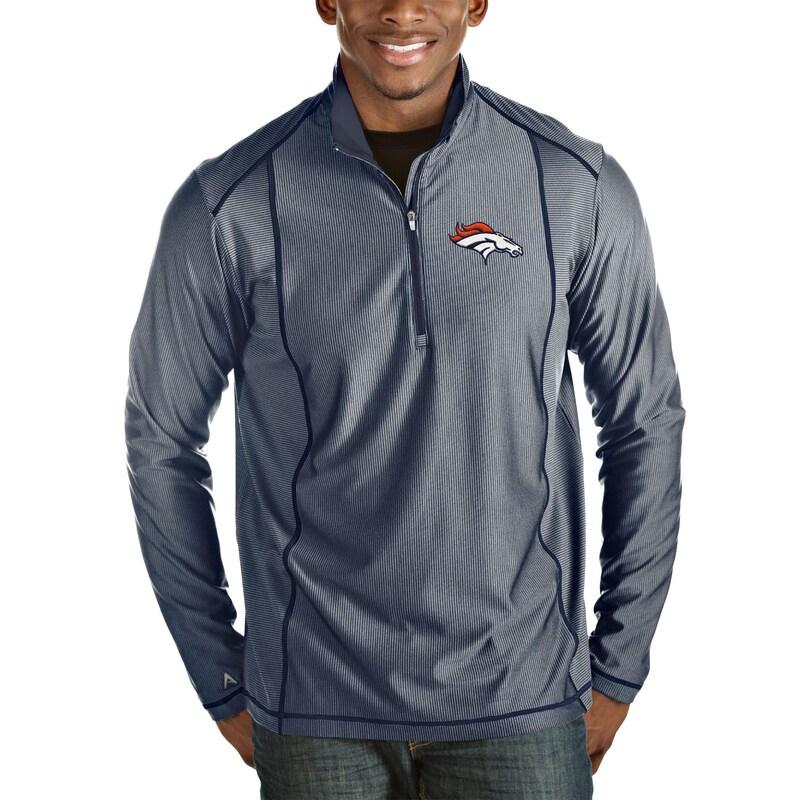 Denver Broncos Antigua Tempo Quarter-Zip Pullover Jacket - Heather Navy