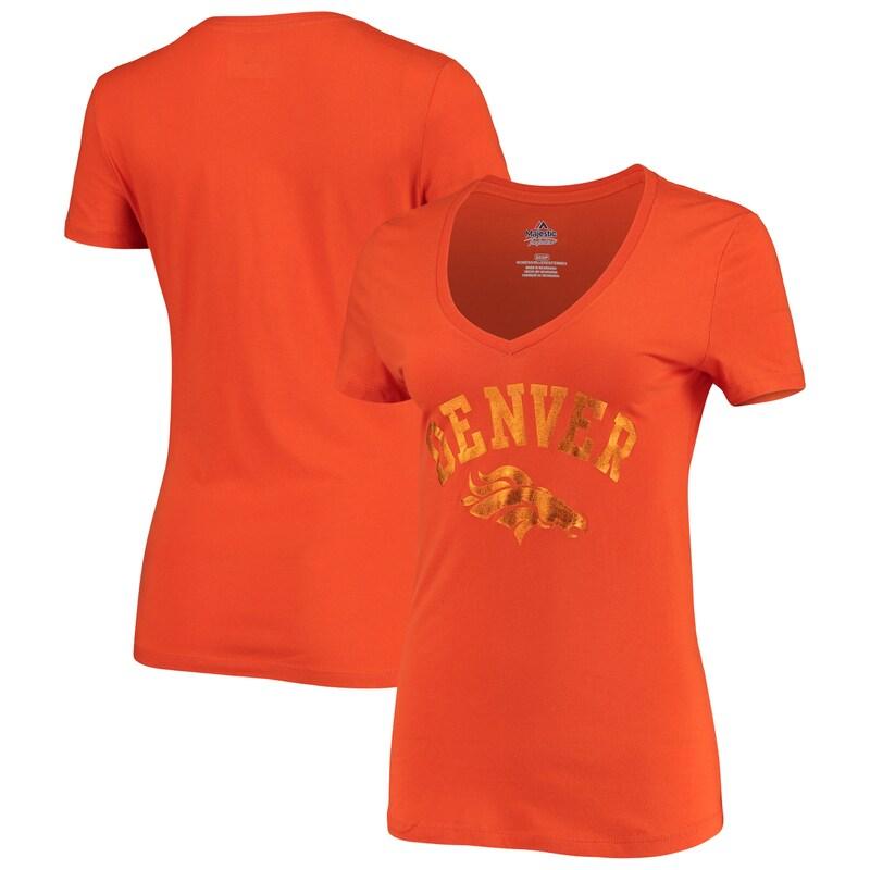 Denver Broncos NFL Pro Line by Fanatics Branded Women's Tonal Shine V-Neck T-Shirt - Orange