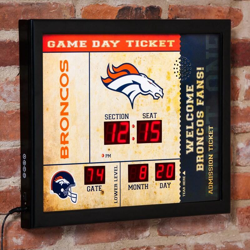 "Denver Broncos 23"" x 18"" Bluetooth Scoreboard Wall Clock"
