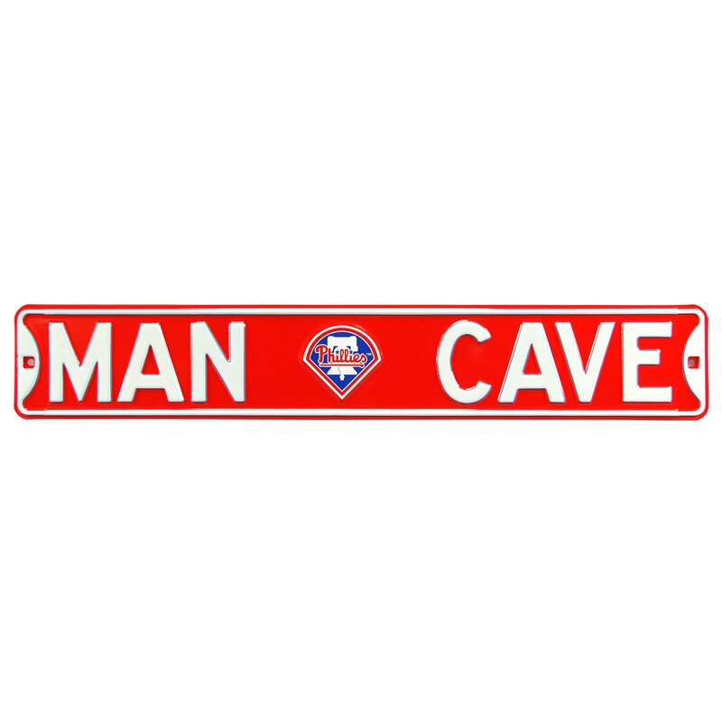 "Philadelphia Phillies 6"" x 36"" Man Cave Steel Street Sign - Red"