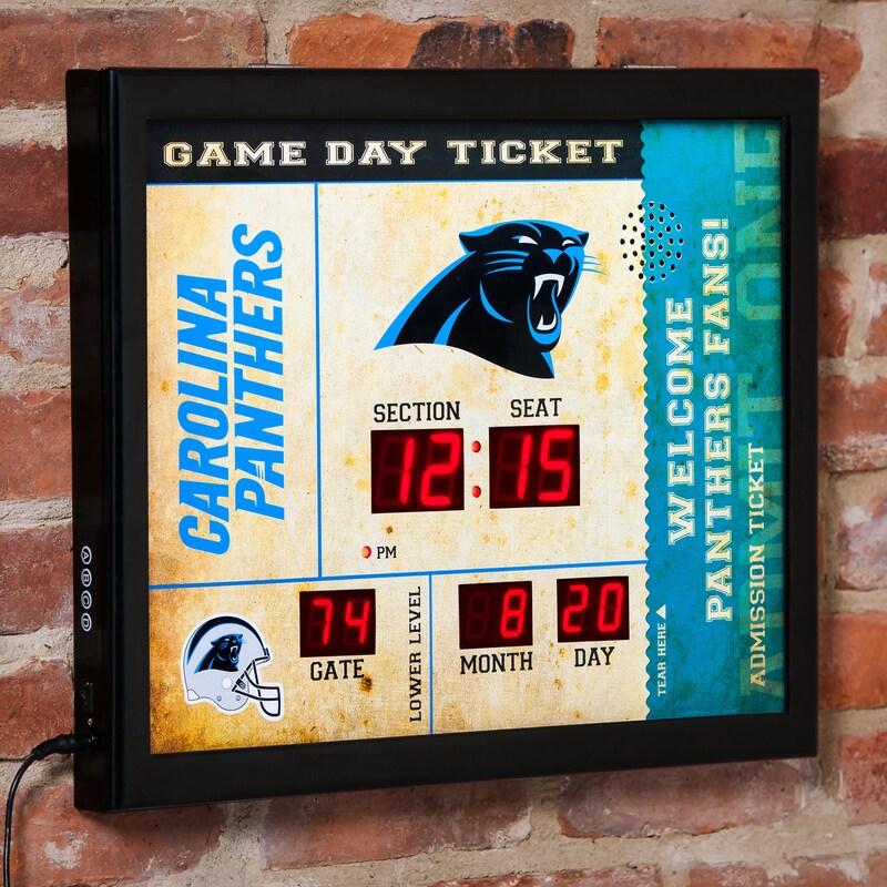 """Carolina Panthers 23"""" x 18"""" Bluetooth Scoreboard Wall Clock"""