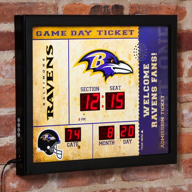 "Baltimore Ravens 23"" x 18"" Bluetooth Scoreboard Wall Clock"