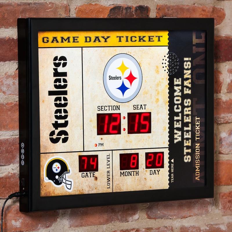 "Pittsburgh Steelers 23"" x 18"" Bluetooth Scoreboard Wall Clock"