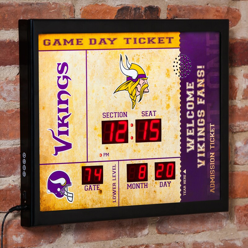"Minnesota Vikings 23"" x 18"" Bluetooth Scoreboard Wall Clock"