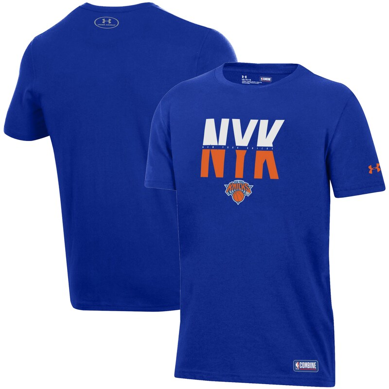 New York Knicks Under Armour Youth Combine Authentic City Performance T-Shirt - Blue