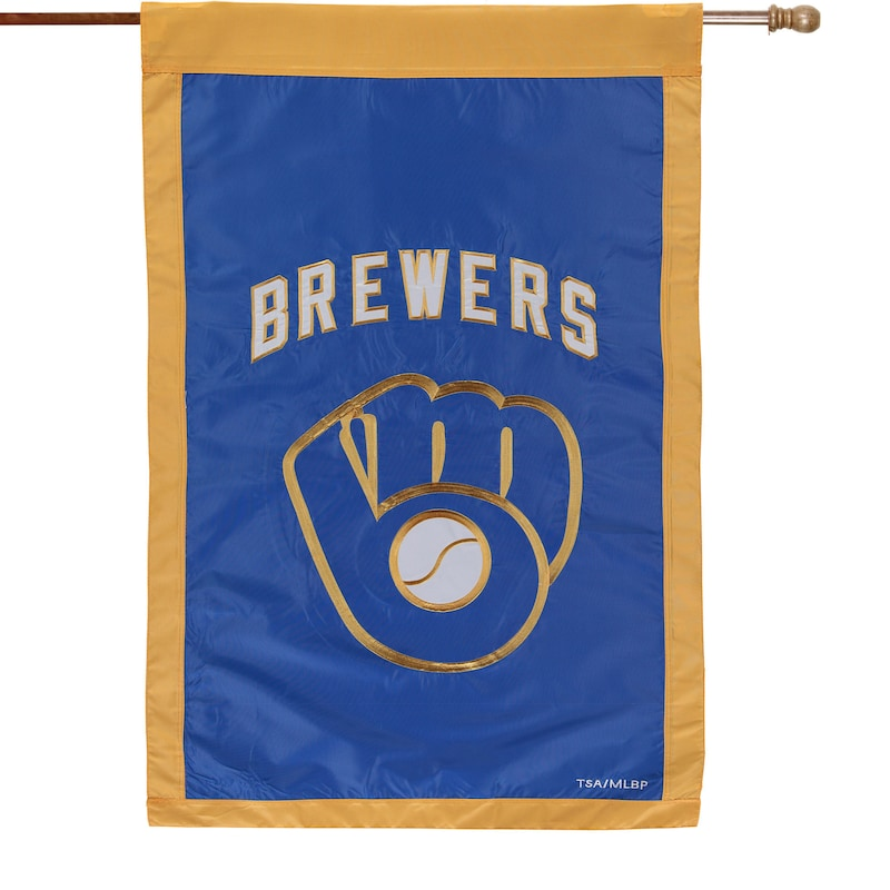 """Milwaukee Brewers 28"""" x 44"""" Applique Double-Sided House Flag"""