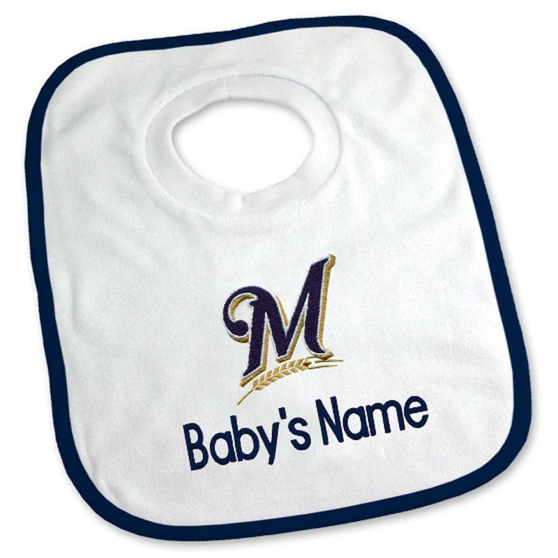 Milwaukee Brewers Newborn & Infant Personalized Bib - White