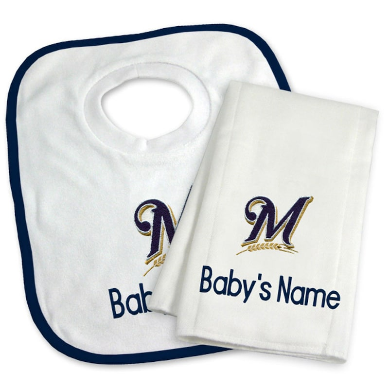 Milwaukee Brewers Newborn & Infant Personalized Bib & Burp Cloth Set - White