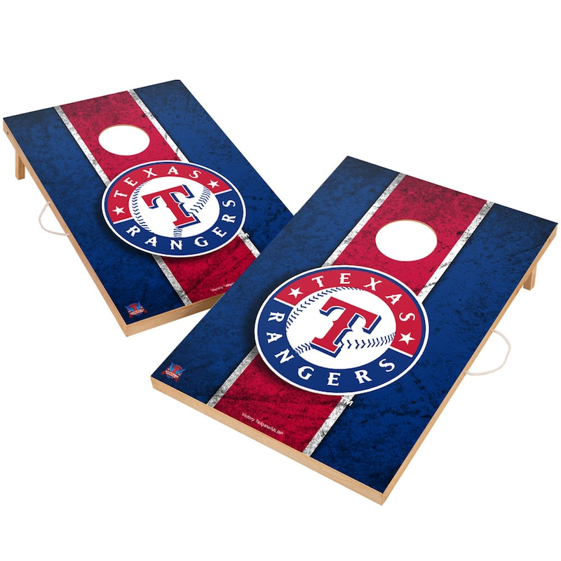 Texas Rangers 2' x 3' Solid Wood Cornhole Vintage Game Set