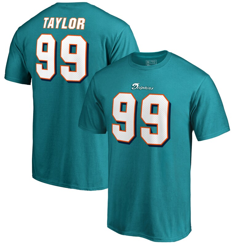 Jason Taylor Miami Dolphins Pro Line by Fanatics Branded Authentic Stack Retired Player Player Name & Number T-Shirt - Aqua