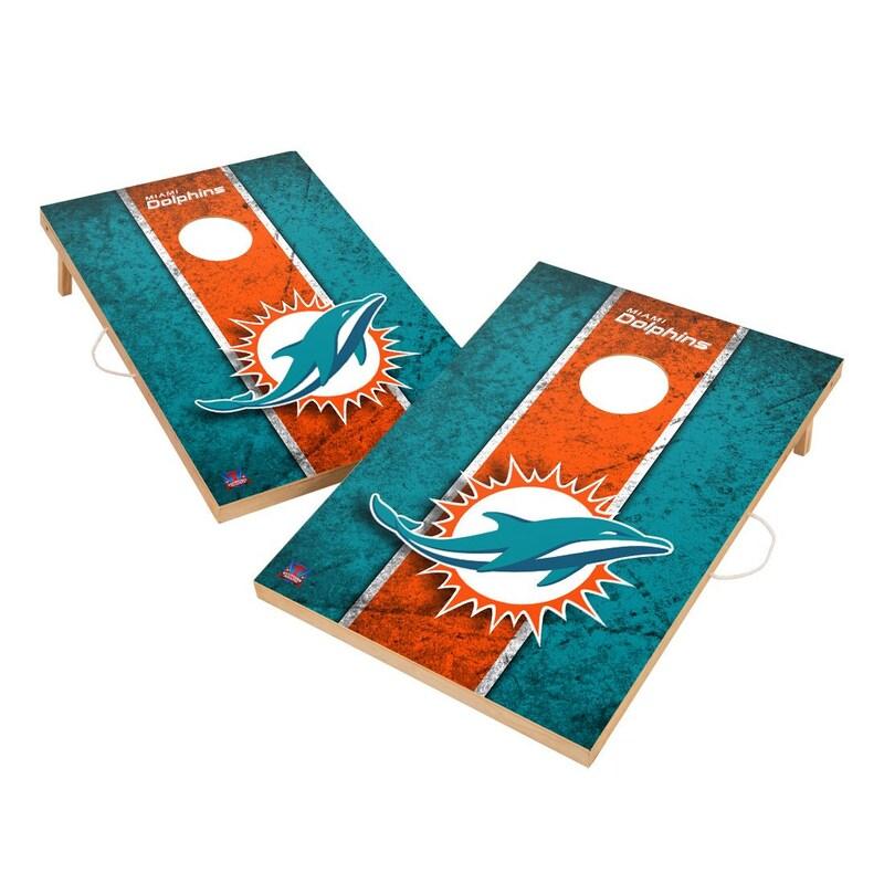 Miami Dolphins 2' x 3' Vintage Cornhole Board Tailgate Toss Set