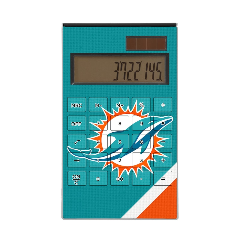 Miami Dolphins Diagonal Stripe Desktop Calculator