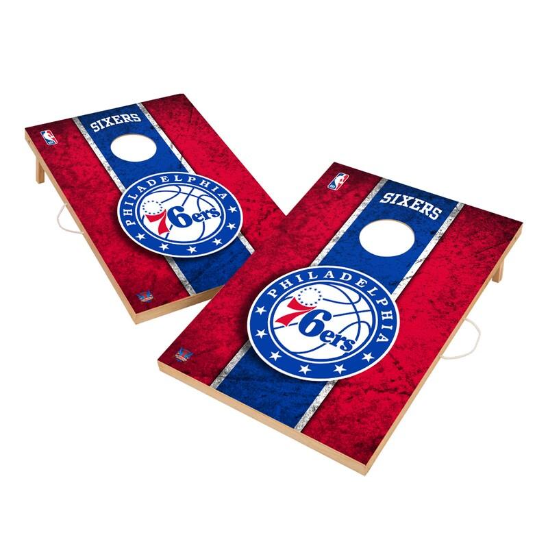 Philadelphia 76ers 2' x 3' Solid Wood Cornhole Board Tailgate Toss Set