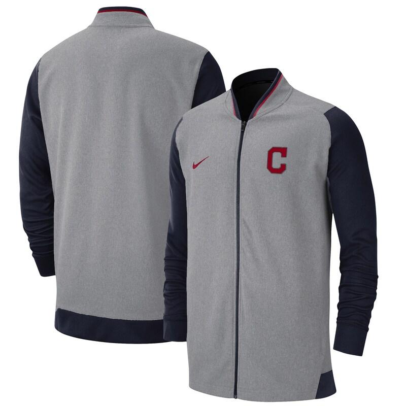 Cleveland Indians Nike Game Performance Full-Zip Jacket - Gray/Navy