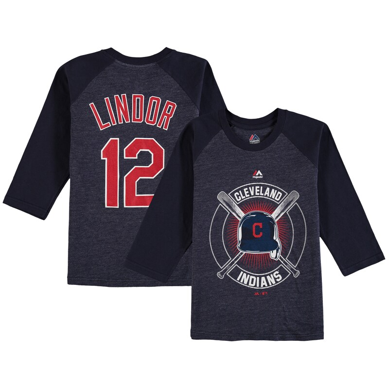 Francisco Lindor Cleveland Indians Youth Name & Number Tri-Blend 3/4-Sleeve Raglan T-Shirt - Navy
