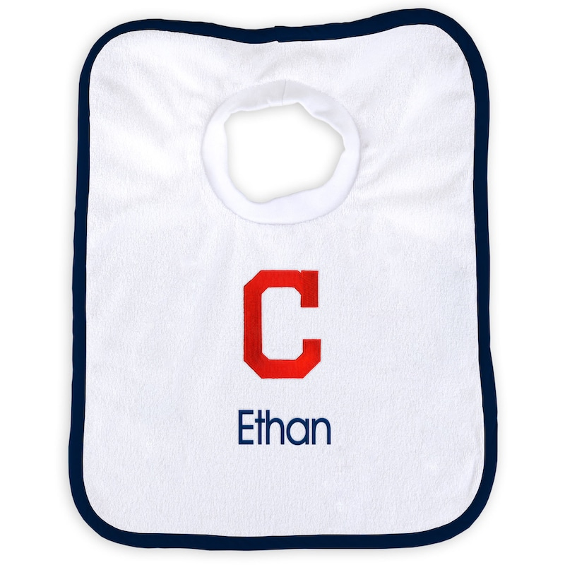Cleveland Indians Newborn & Infant Personalized Bib - White