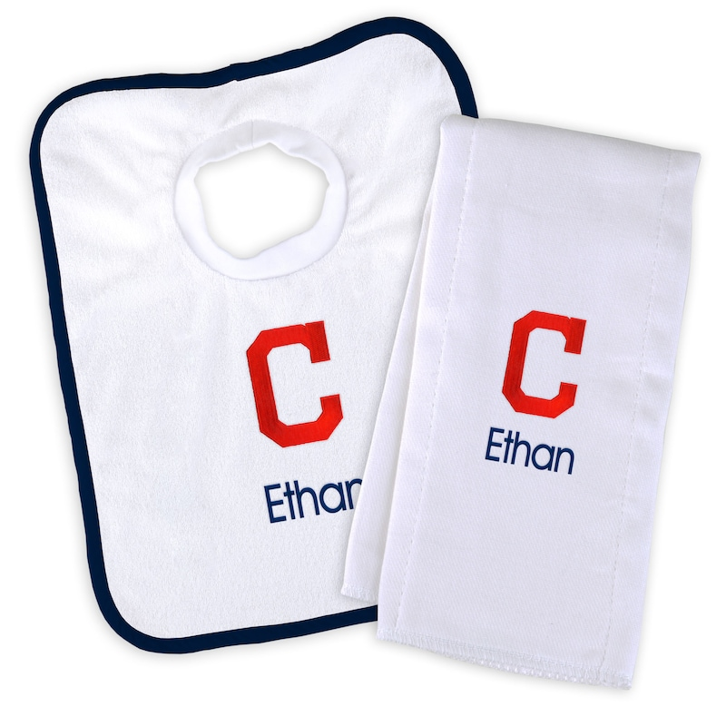 Cleveland Indians Newborn & Infant Personalized Bib & Burp Cloth Set - White