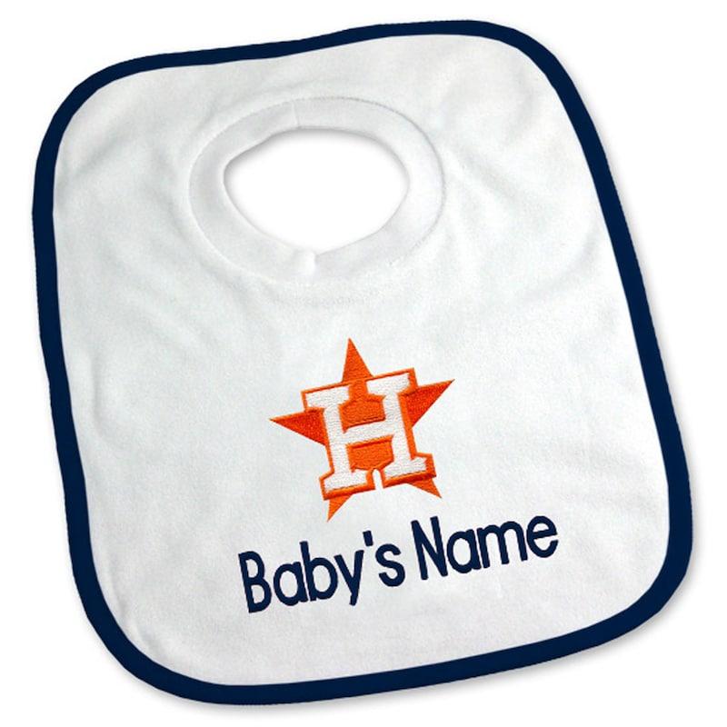 Houston Astros Newborn & Infant Personalized Bib - White