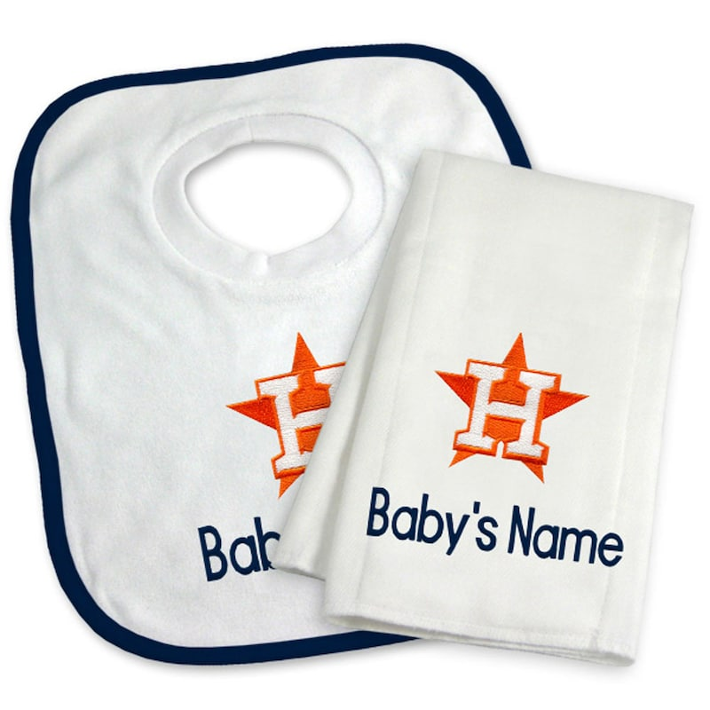 Houston Astros Newborn & Infant Personalized Bib & Burp Cloth Set - White