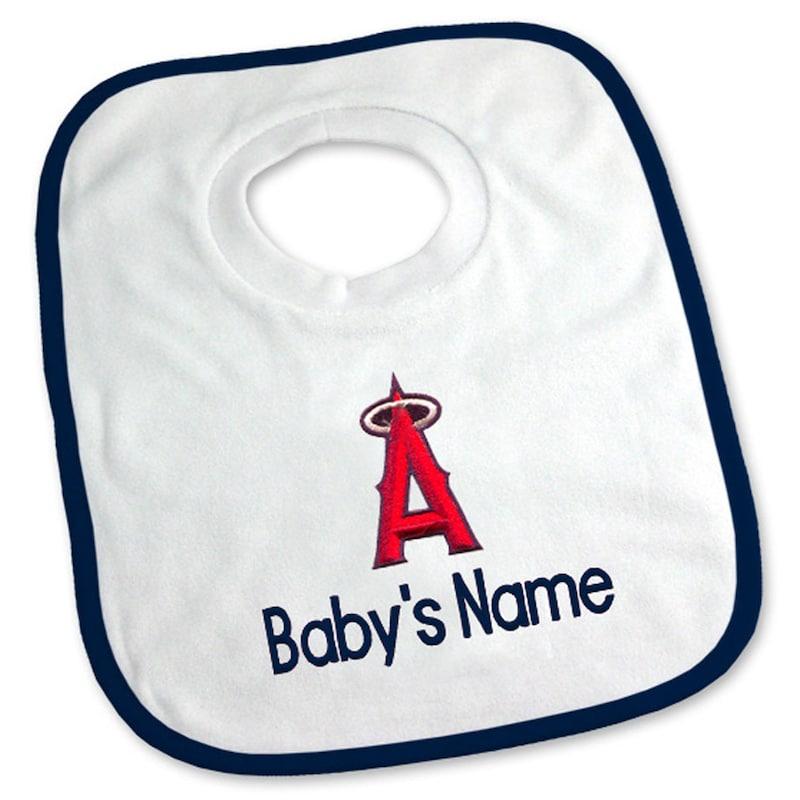 Los Angeles Angels Newborn & Infant Personalized Bib - White