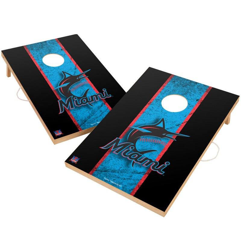 Miami Marlins 2' x 3' Solid Wood Cornhole Vintage Game Set