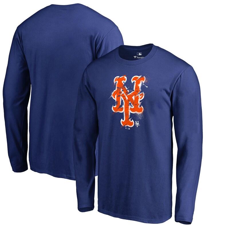 New York Mets Fanatics Branded Splatter Logo Long Sleeve T-Shirt - Royal