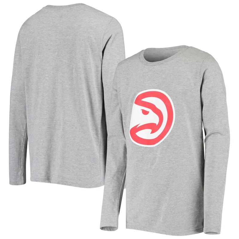 Atlanta Hawks Youth Primary Logo Long Sleeve T-Shirt - Heathered Gray