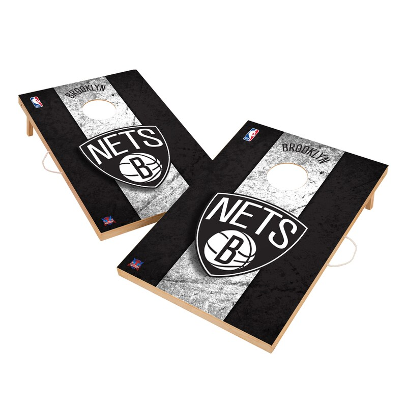 Brooklyn Nets 2' x 3' Solid Wood Cornhole Board Tailgate Toss Set