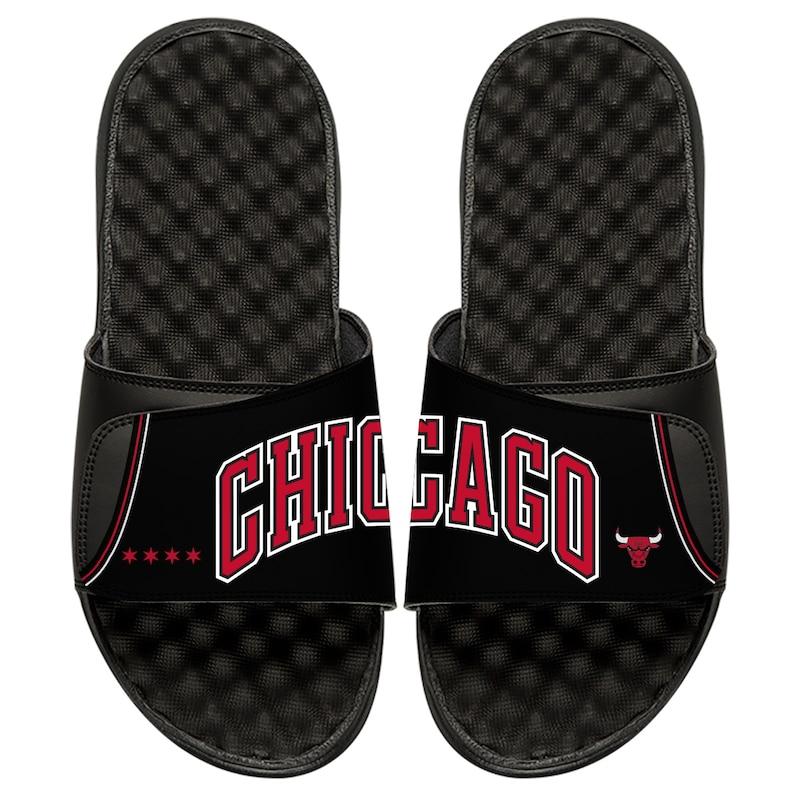 Chicago Bulls ISlide Statement Jersey Split Slide Sandals - Black