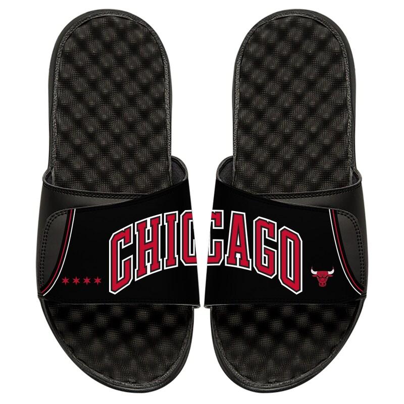 Chicago Bulls ISlide Youth Statement Jersey Split Slide Sandals - Black