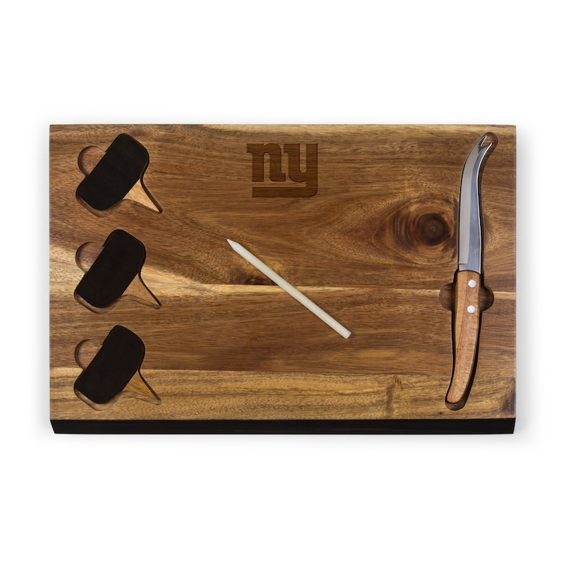 New York Giants Delio Acacia Cheese Board with Acacia Markers
