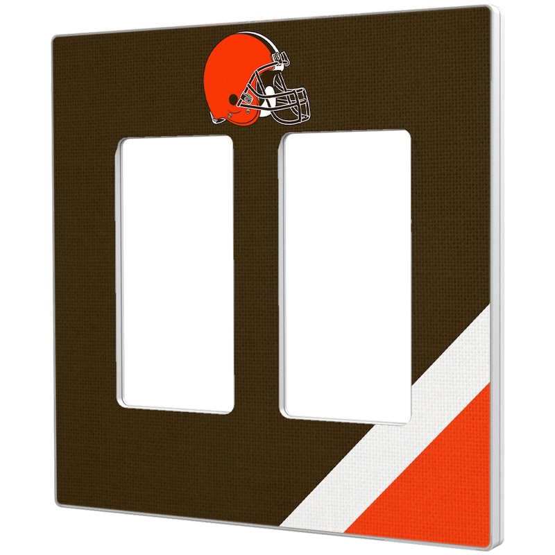 Cleveland Browns Diagonal Stripe Double Rocker Light Switch Plate