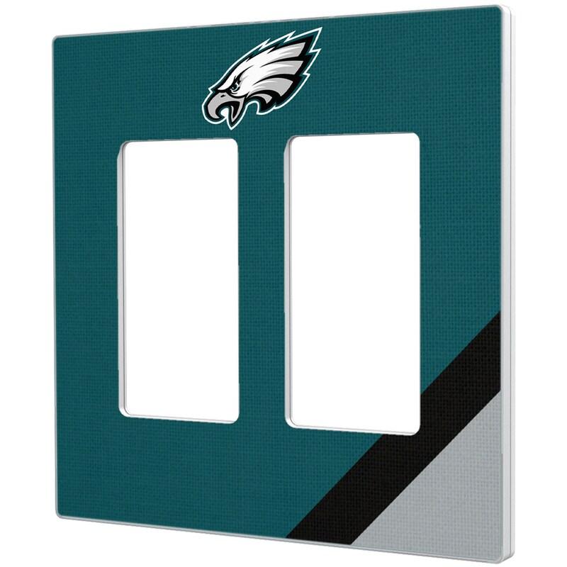 Philadelphia Eagles Diagonal Stripe Double Rocker Light Switch Plate