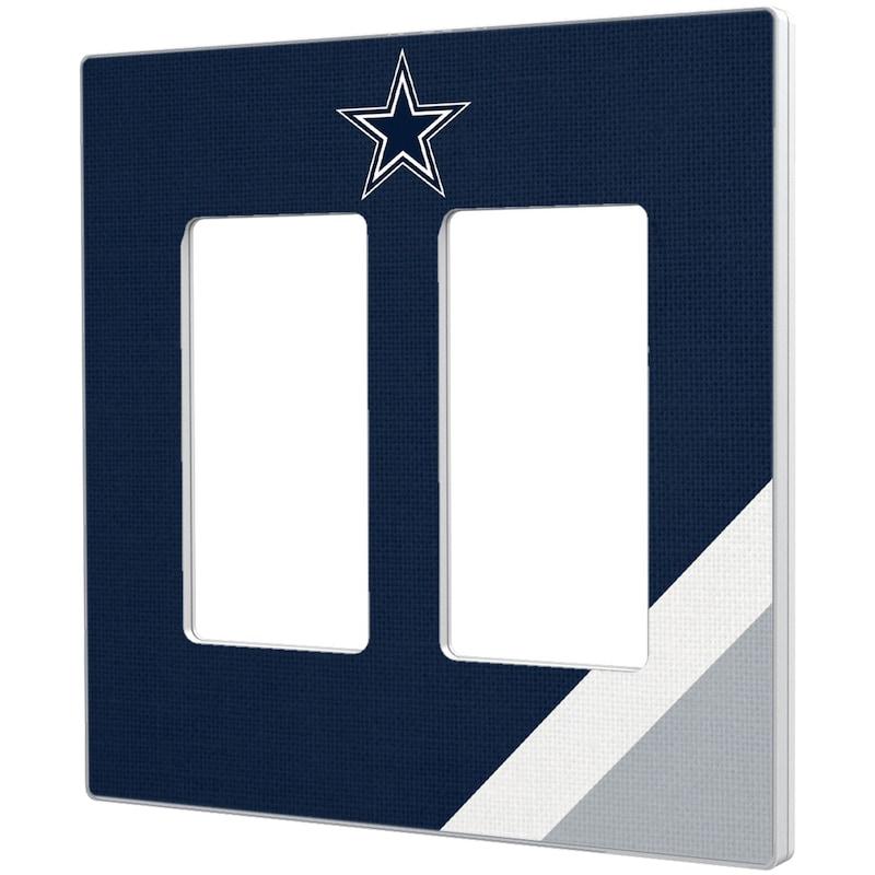 Dallas Cowboys Diagonal Stripe Double Rocker Light Switch Plate