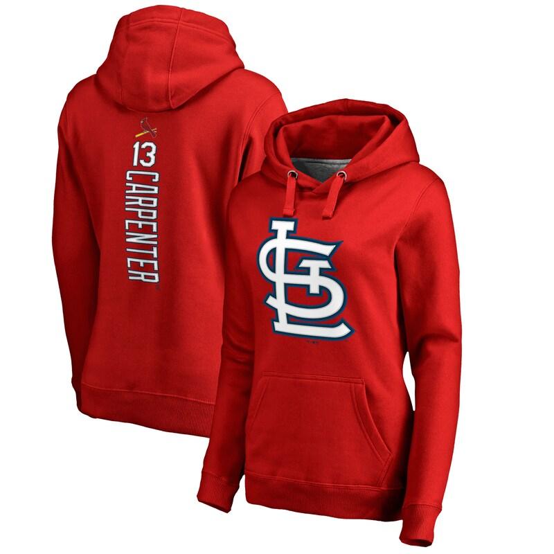 Matt Carpenter St. Louis Cardinals Fanatics Branded Women's Backer Pullover Hoodie - Red
