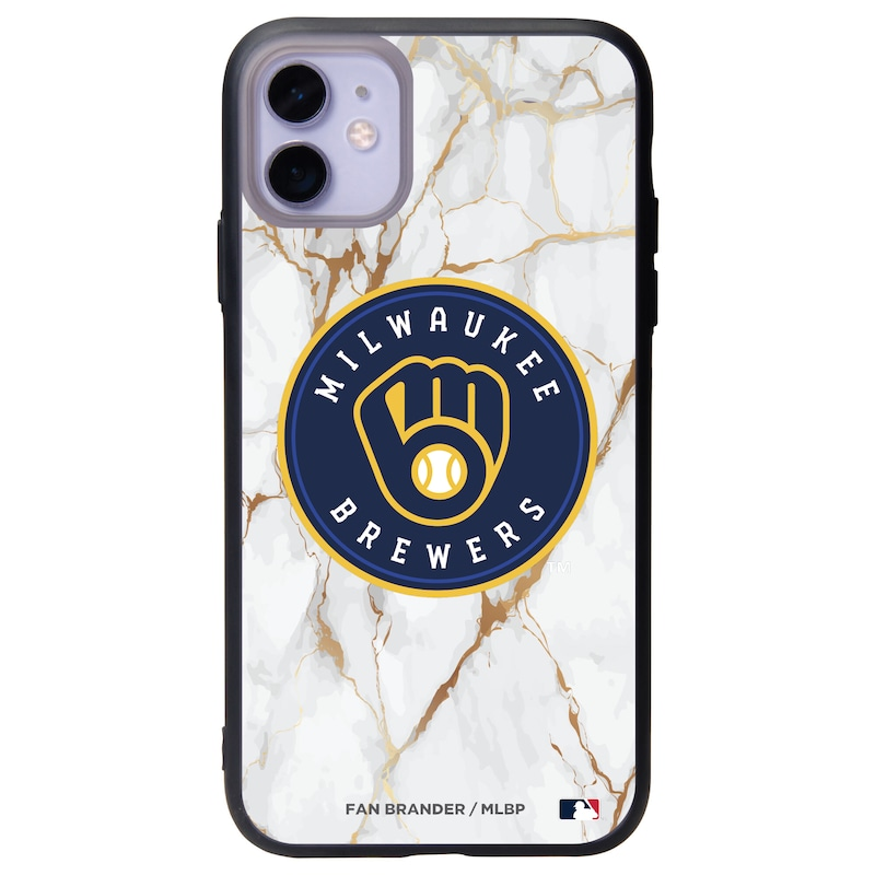 Milwaukee Brewers Black Slate White Marble iPhone Case