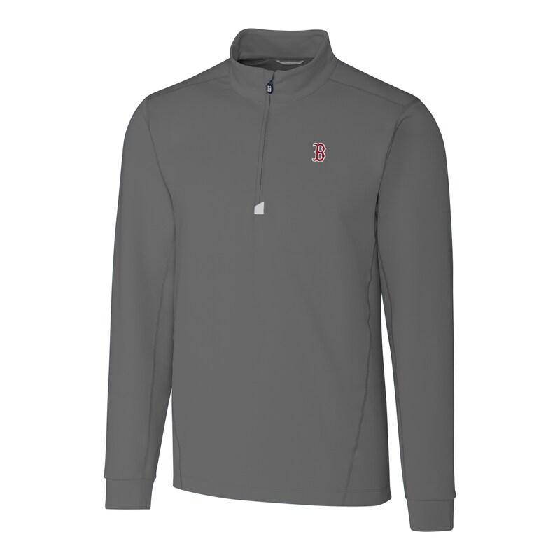 Boston Red Sox Cutter & Buck Big & Tall Traverse Half-Zip Pullover Jacket - Gray