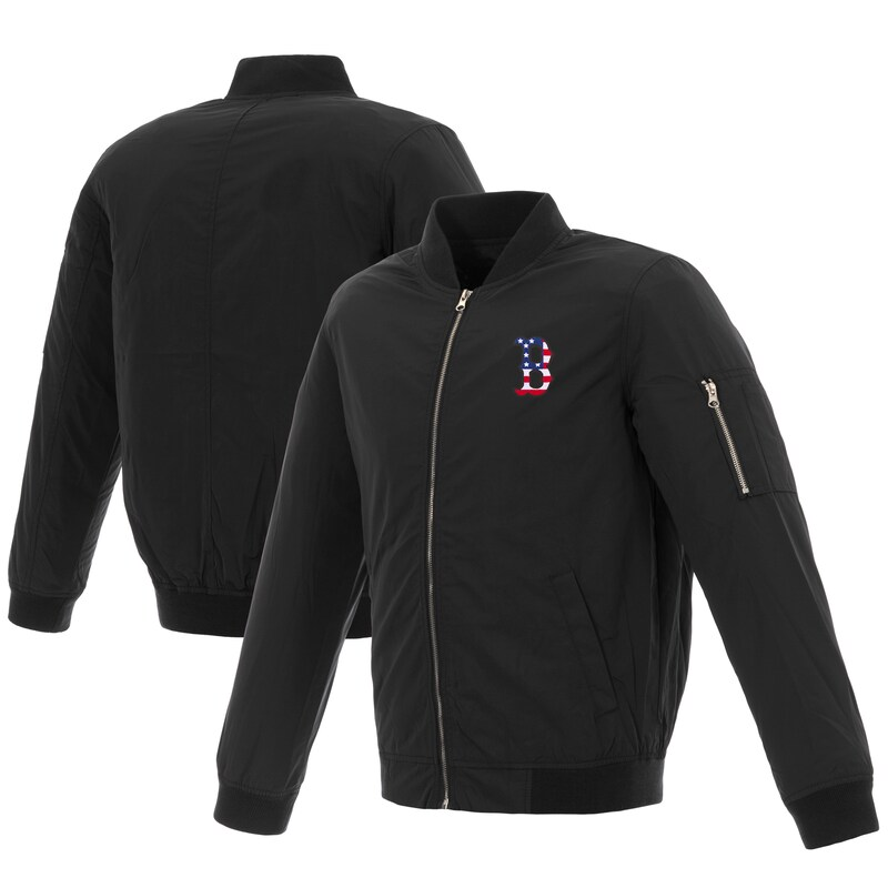 Boston Red Sox JH Design 2019 Stars and Stripes Bomber Jacket with Embroidered Logo - Black