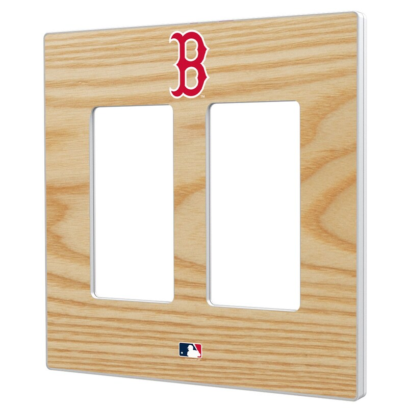 Boston Red Sox Baseball Bat Design Double Rocker Light Switch Plate