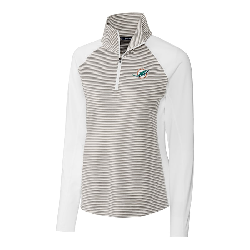 Miami Dolphins Cutter & Buck Women's Forge Tonal Stripe Half-Zip Pullover Jacket - White