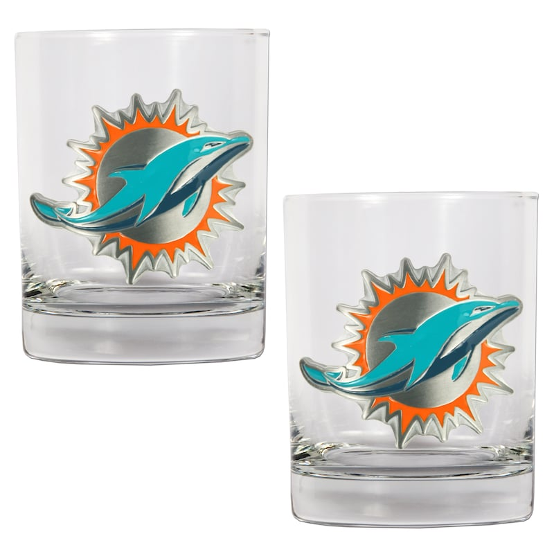 Miami Dolphins 14oz. Rocks Glass Set