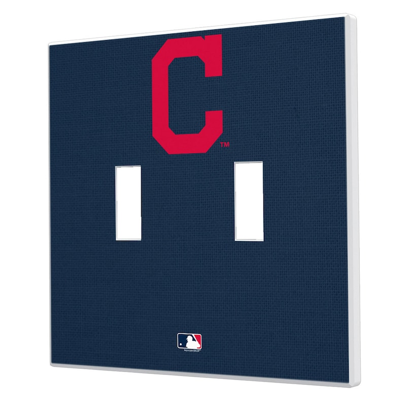 Cleveland Indians Solid Design Double Toggle Light Switch Plate