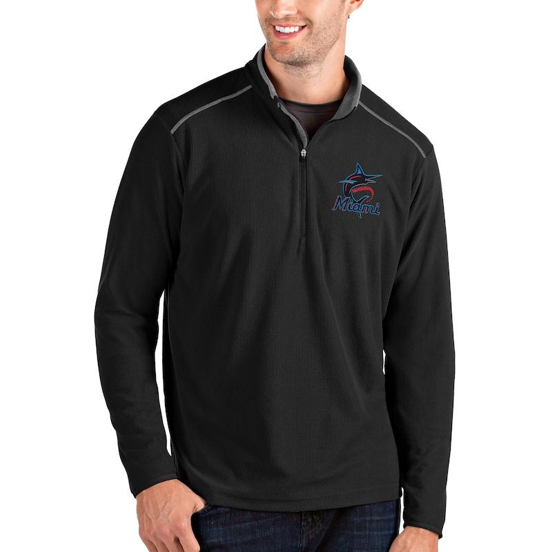 Miami Marlins Antigua Glacier Quarter-Zip Pullover Jacket - Black