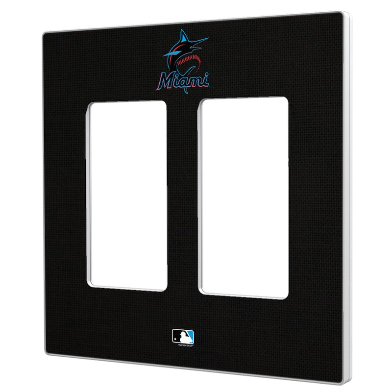 Miami Marlins Solid Double Rocker Light Switch Plate
