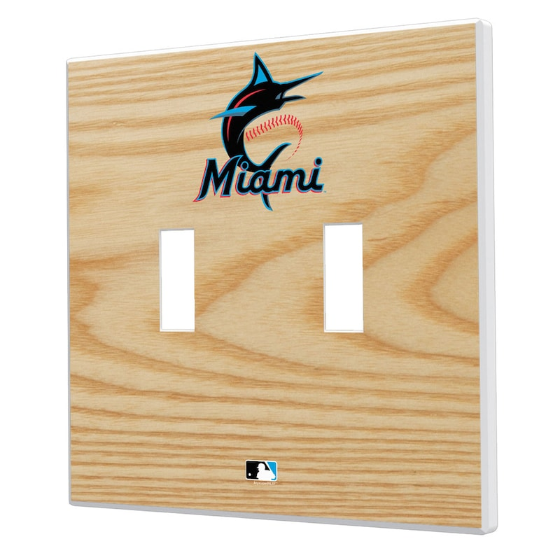 Miami Marlins Baseball Bat Design Double Toggle Light Switch Plates