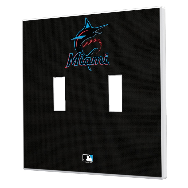 Miami Marlins Solid Design Double Toggle Light Switch Plate