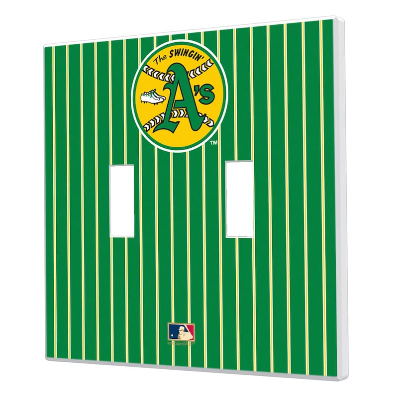 Oakland Athletics 1971-1981 Cooperstown Pinstripe Double Toggle Light Switch Plate